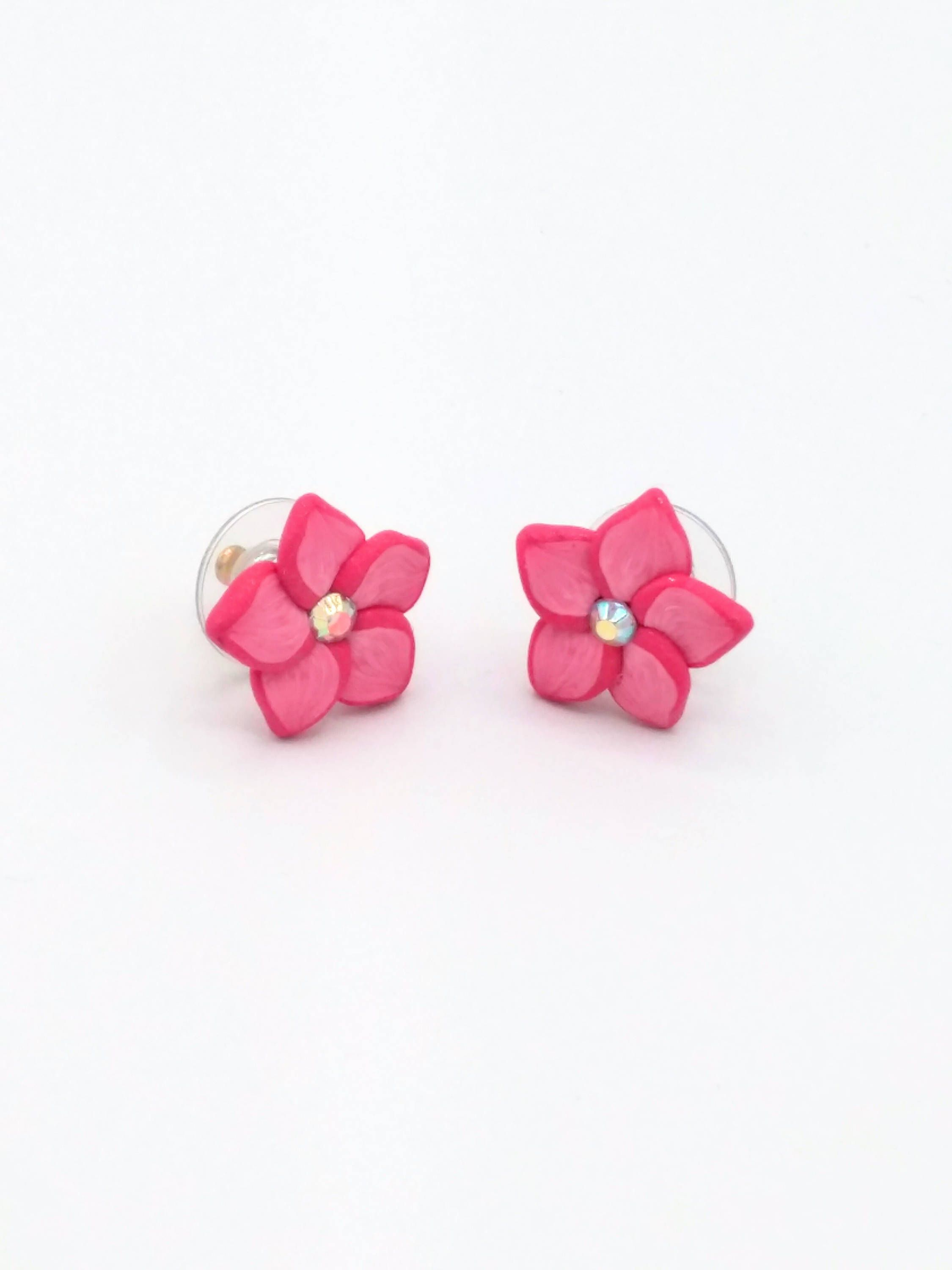 Pink Flower Earrings 75in Blush Plumeria Polymer Clay Post