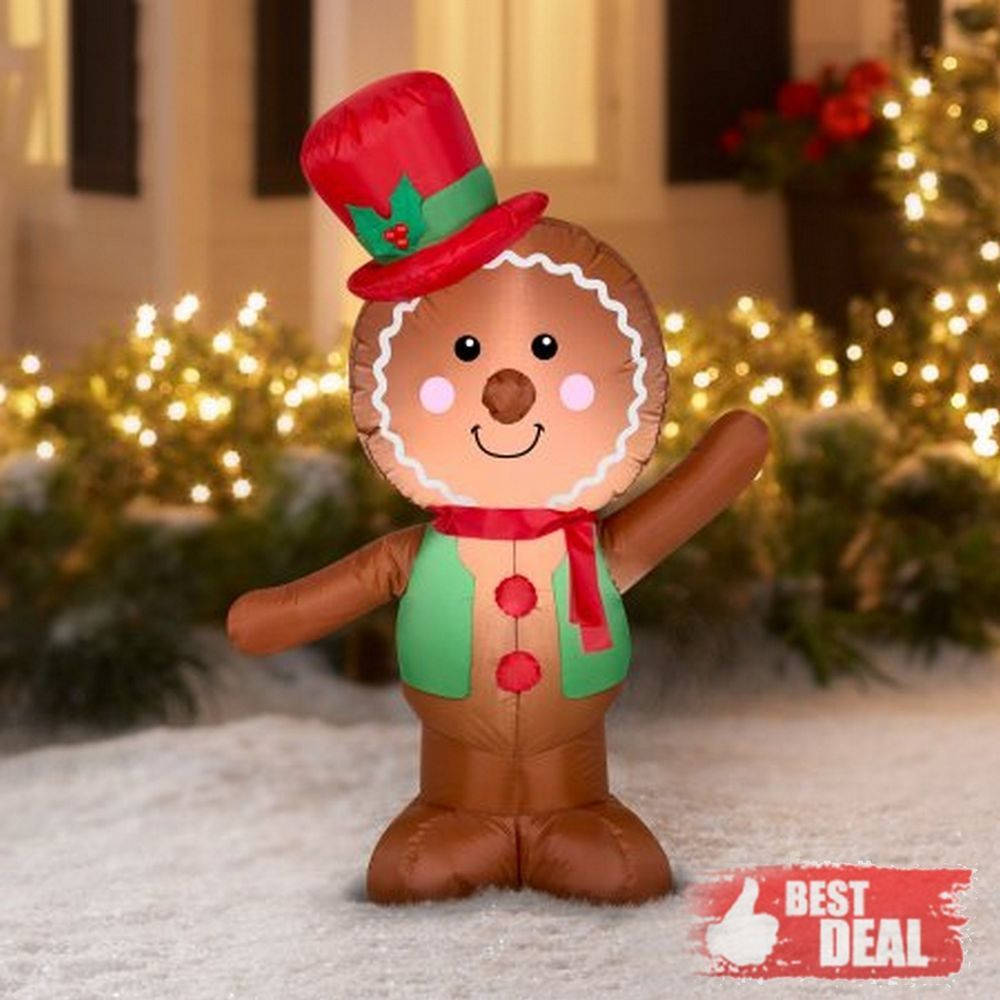 Airblown Inflatable Gingerbread Man 4 Ft Christmas Yard Decor O Inflatable Christmas Decorations Inflatable Christmas Decorations Outdoor Christmas Inflatables