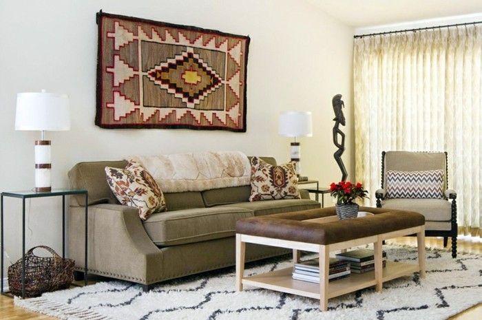wanddeko ideen wohnzimmer teppich schöne muster Wandgestaltung