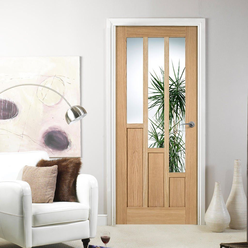 Coventry Contemporary Oak Door with Clear Safety Glass | Oak doors ...