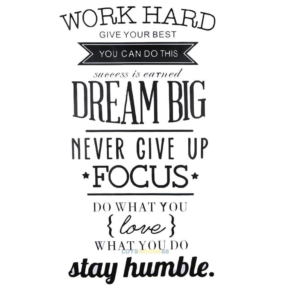 Wall Decals Quotes Work Hard Vinyl Wall Sticker Decorative Office Home Decal New 5 8 Dream Big Quotes Inspirational Quotes Decals Wall Decor Stickers