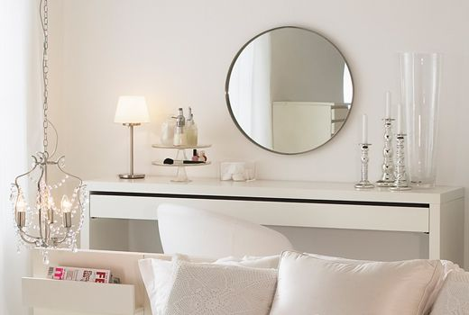 I Have This Vanity In Black Brown And Large Circle Mirror Ikea Malm Dressing Table Ikea Dressing Table Malm Dressing Table