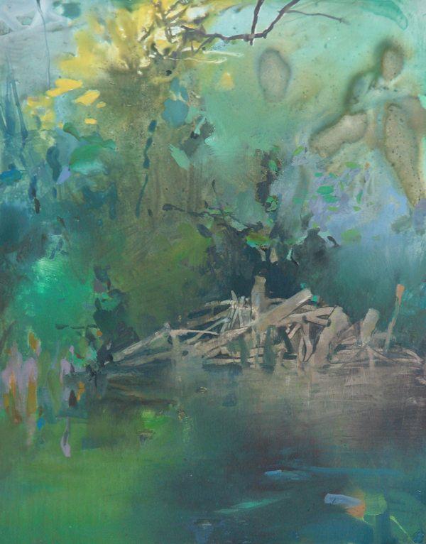 Tualatin Riverbank 14x11 watermedia on Yupo Randall David Tipton
