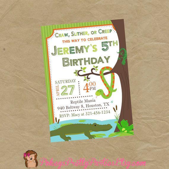 REPTILE Birthday Party Invitation Invite Craw Slither or Creep – Reptile Invitations Birthday