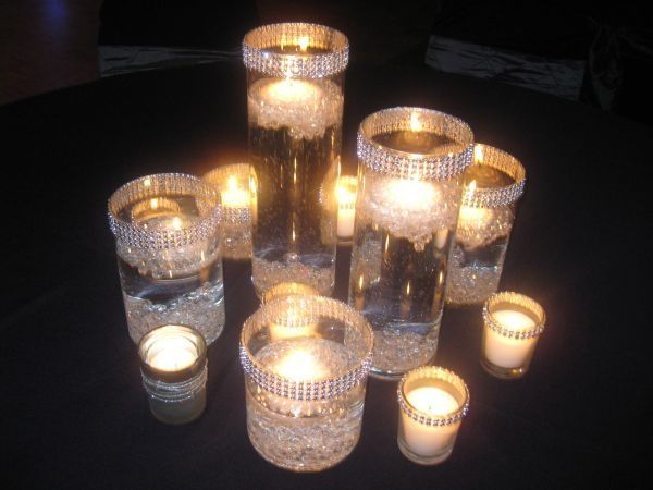 Bling Centerpieces For Wedding And Rhinestones Scattered On