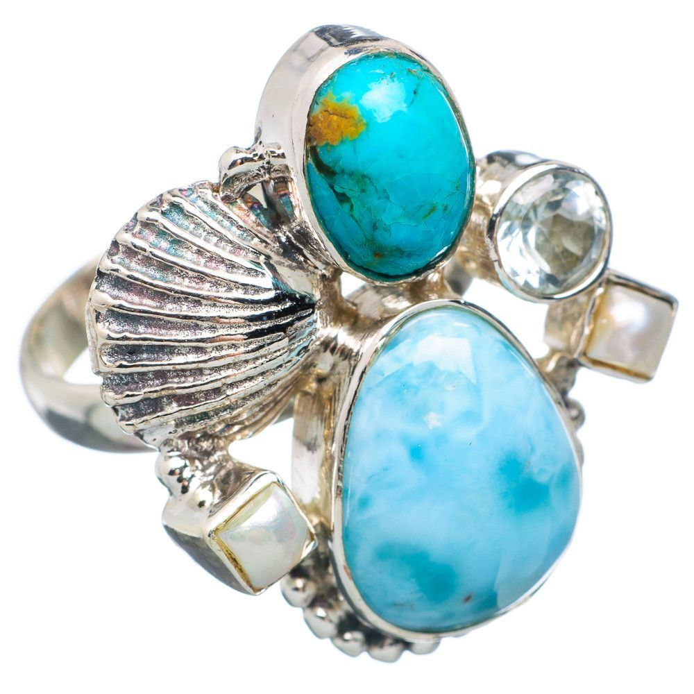 Rare Larimar Sea Shell, Tibetan Turquoise 925 Sterling Silver Ring Size 8.25 RING632557