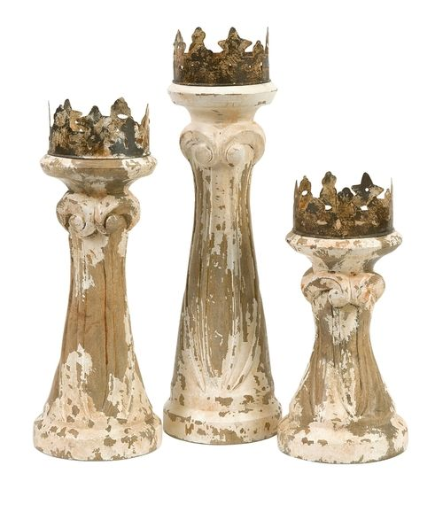 Feliciano Hand Carved Wood Candleholders - Set of 3