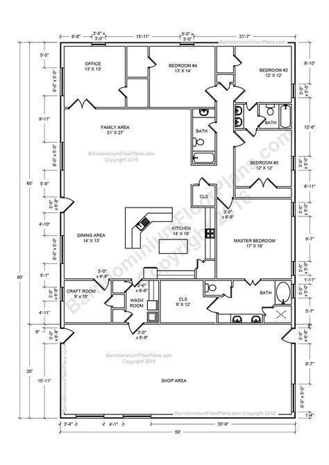 Barndominium floor plans pole barn house plans and metal for Two story barndominium floor plans