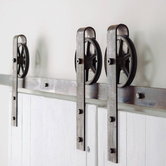 Vintage Spoked Double Door Sliding Barn Door Hardware Set  Porte