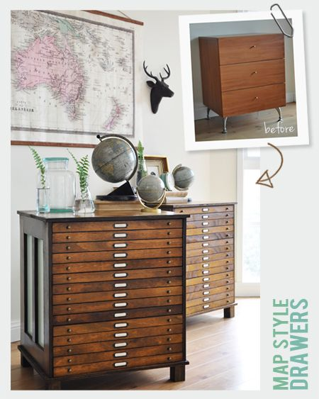 DIY Apothecary Style Map Drawers
