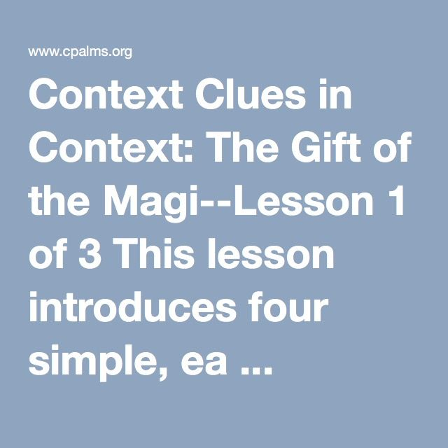 Context clues in context the gift of the magi lesson 1 of 3 this context clues in context the gift of the magi lesson 1 of 3 negle Images