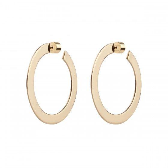 """1.5"""" Side Flat Plate Hoop Earrings"""