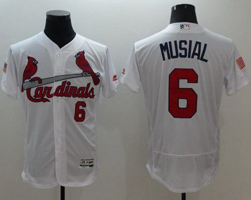 d78a10d5cba Cardinals  6 Stan Musial White Fashion Stars   Stripes Flexbase Authentic Stitched  MLB Jersey