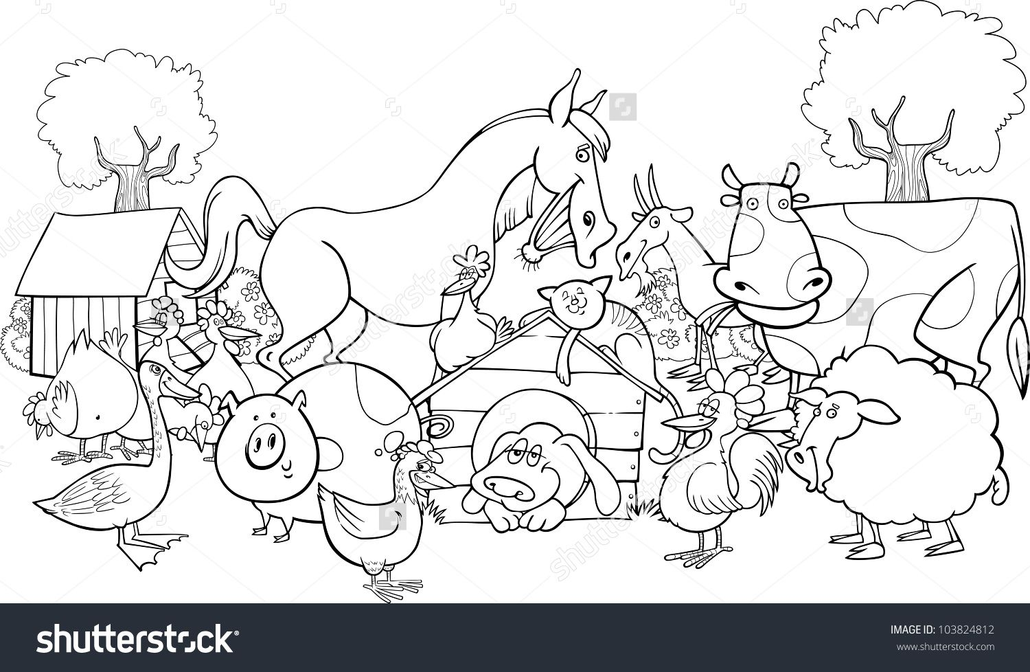 Cartoon Illustration Of Farm Animals Group For Coloring Group Farm Animal Coloring Pages Farm Coloring Pages Animal Coloring Pages