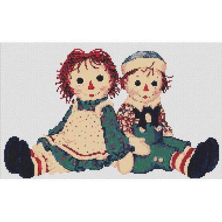 Raggedy Ann Counted Cross Stitch Kit Old Friend Trunk Cross Stitch,Red Hair Doll Kit Rag Doll Cross Stitch Kit Old Friend Raggedy Ann Kit