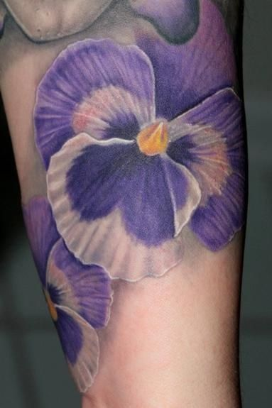 Flower Tattoo Pensees Violet Flower Tattoos Purple Tattoos