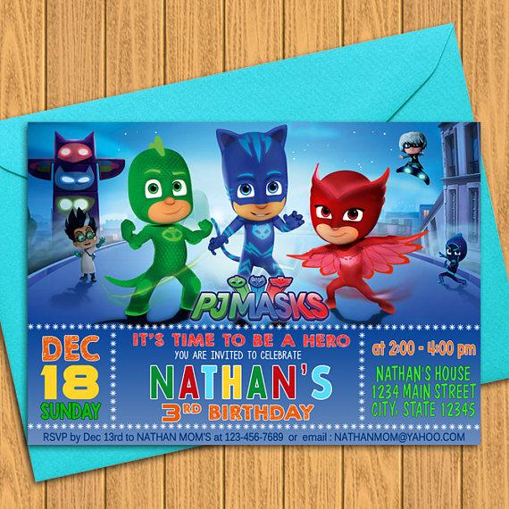 PJ Masks Invitations