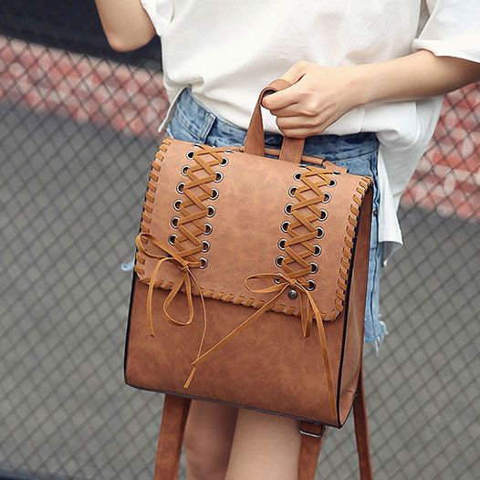 Vintage Brown Weave Headphones Hole Girl's Square Frosty Cross Decorative Flap School Backpack #backpacks