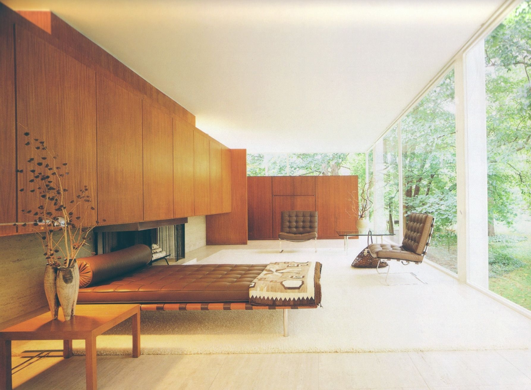 An interior shot of the farnsworth house mies van der rohes designed in 1945