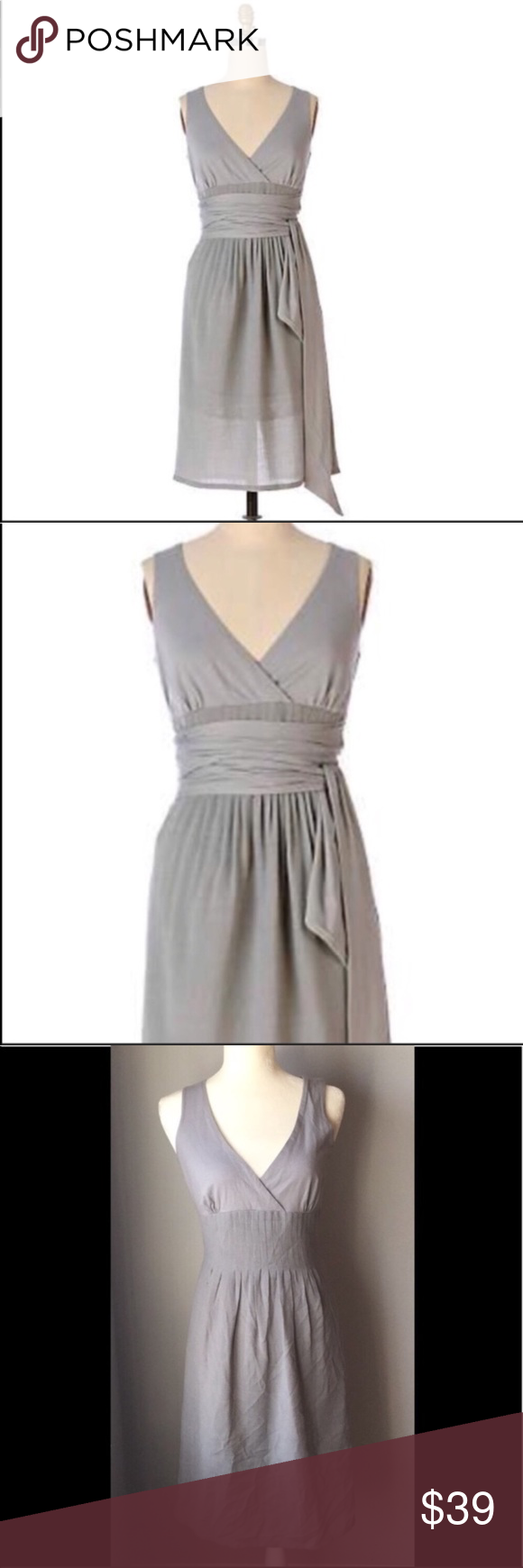 Anthropologie Fei Ethereal dress grey 8 Surplice jersey gives way to sheer and drifting gauze. By Fei.  Wraparound self-ties Back zip Wool, polyester, cotton; acetate lining Dry clean 38″L #0706  Anthropologie Fei Ethereal dress grey 8 Anthropologie Dresses