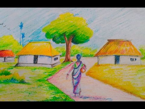 How to draw a beautiful village scenery for kids//Easy ...