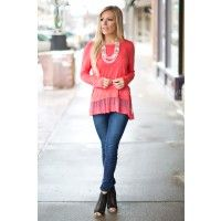 Pretty in Lace Top in Coral