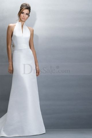 Pretty Maternity Wedding Gowns with High Collar and Natural Waist ...