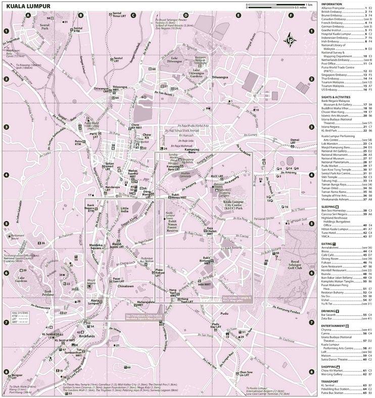 Kuala Lumpur hotels and sightseeings map Maps Pinterest Kuala
