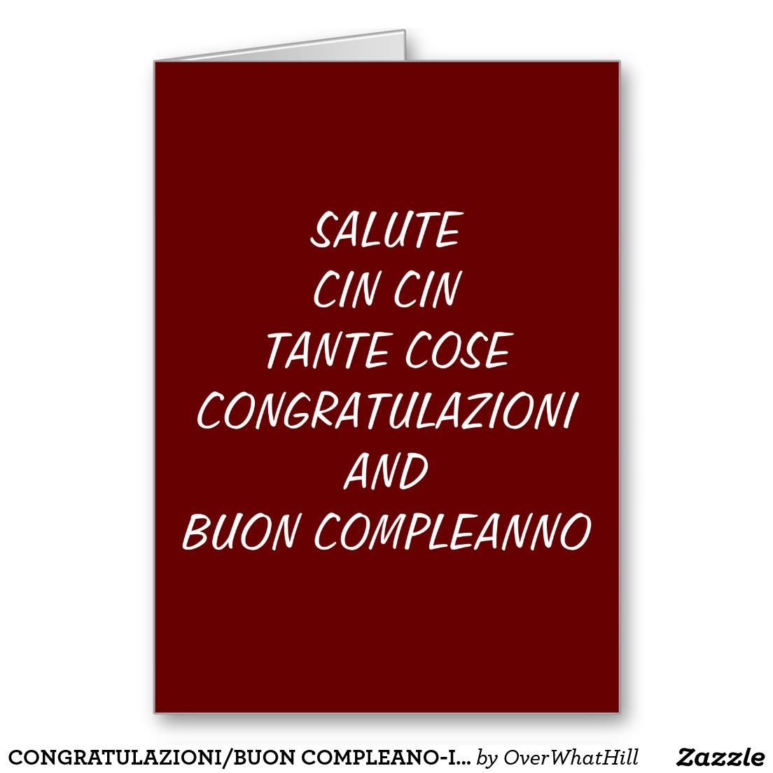 CONGRATULAZIONIBUON COMPLEANOITALIAN BIRTHDAY CARD INCREDIBLE