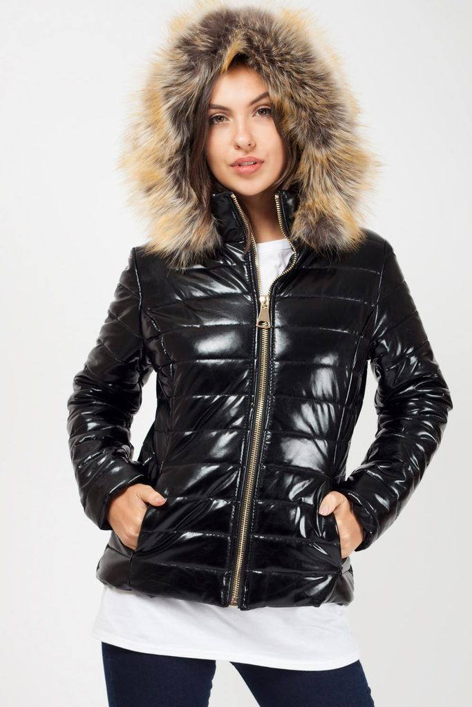 Black Shiny Puffer Coat With Faux Fur