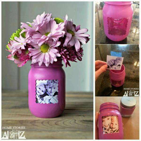 MASON JAR PICTURE FRAME VASE...love this & would be so fun to make for Mother's Day & for Grandmas!  Directions...http://www.homestoriesatoz.com/crafts/mason-jar-picture-frame-vase.html