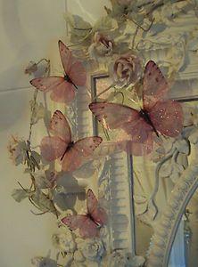 4 Large Sparkling Fairy Dust Girls Pink Bedroom Mirror Furniture Butterflies