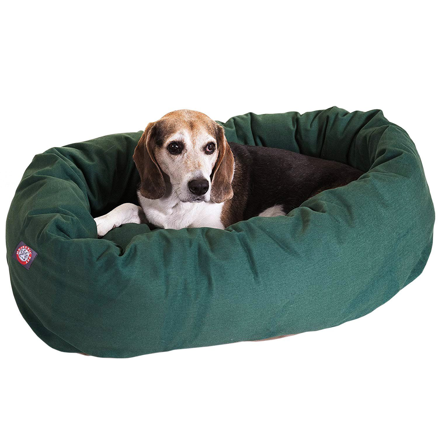Majestic Pet Solid Poly/Cotton Bagel Dog Bed Spine Support