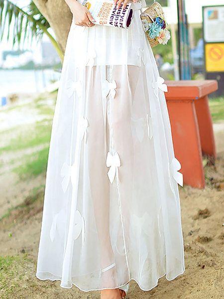 White Sweet Polyester Maxi Skirt