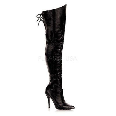 Details about Black Leather Over Knee Thigh High Boots Drag Queen ...