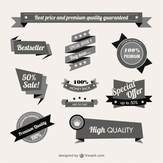 vintage quality guaranteed banner free vector | art resources, Powerpoint templates