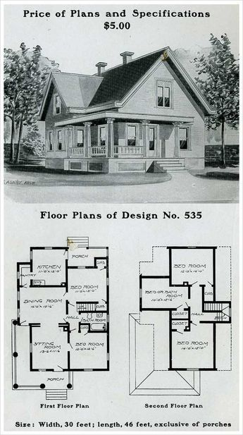 Design No 535 The Radford American Homes 100 Houses Illustrated Craftsman House Plans Farmhouse Floor Plans Craftsman Style House Plans
