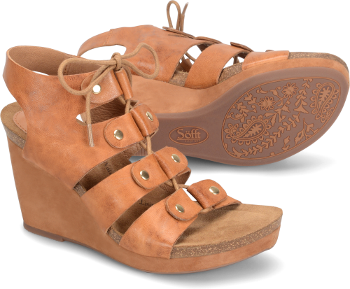 Sofft Carita Metallic Lace Up Cork Wedges ONcTfg6FCw