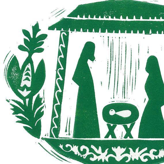 Nativity Wycinanki Linocut Christmas Card by WanderingPaperCo