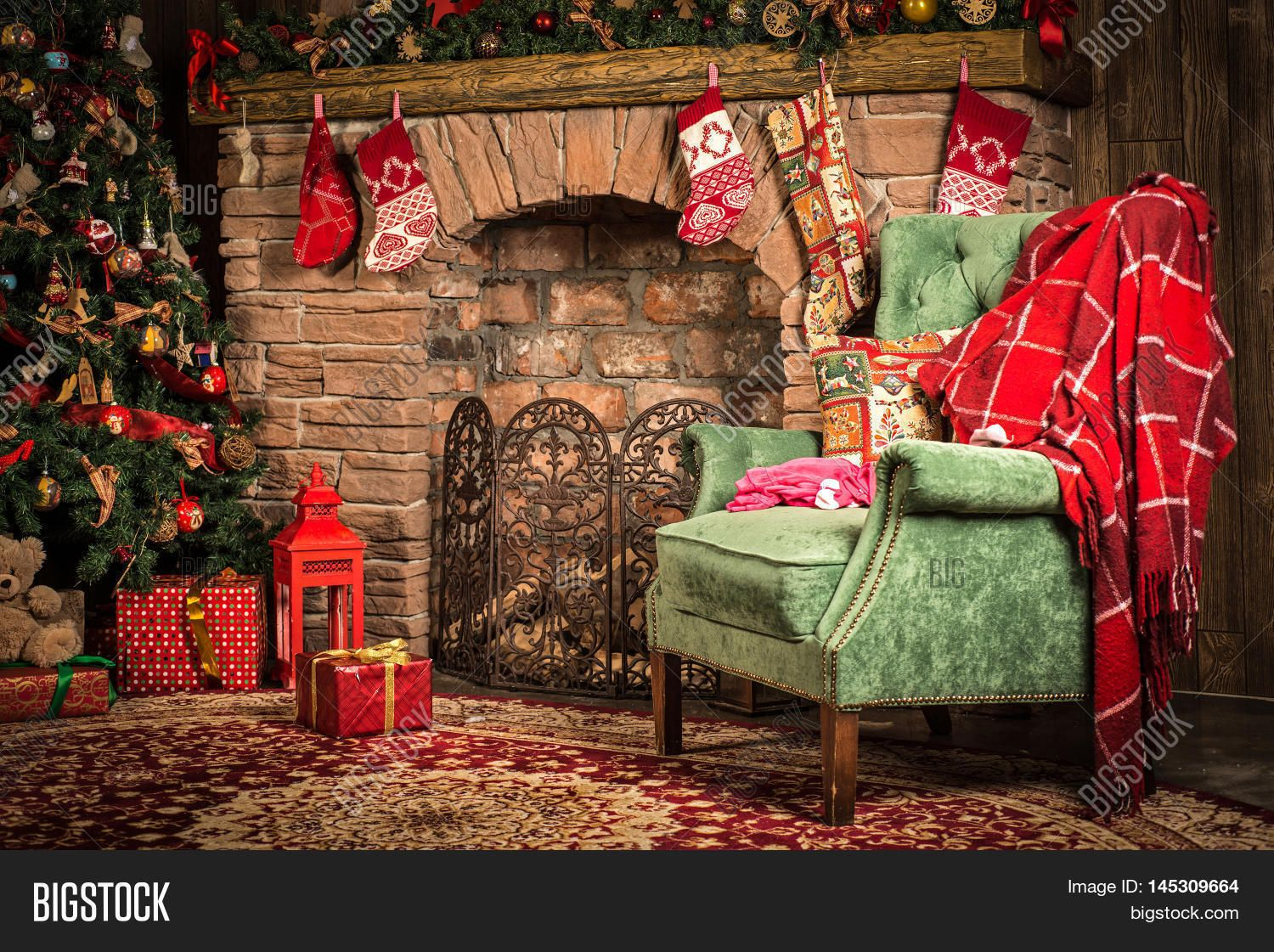 Christmas Decorations Of The Room Fireplace Chair Christmas Tree And Gifts Christmas Tree With Gifts Fireplace Christmas Decorations