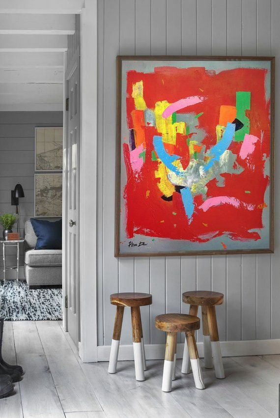 large canvas art living room colorful painting red on modern acrylic paintings for living room id=81883