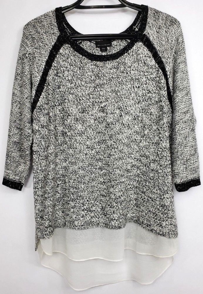 9635548bc4bc90 Metaphor Womens Size XL White Black Silver Long Sleeve Sheer Hem Sweater  Top #Metaphor #PulloverSweater #Any