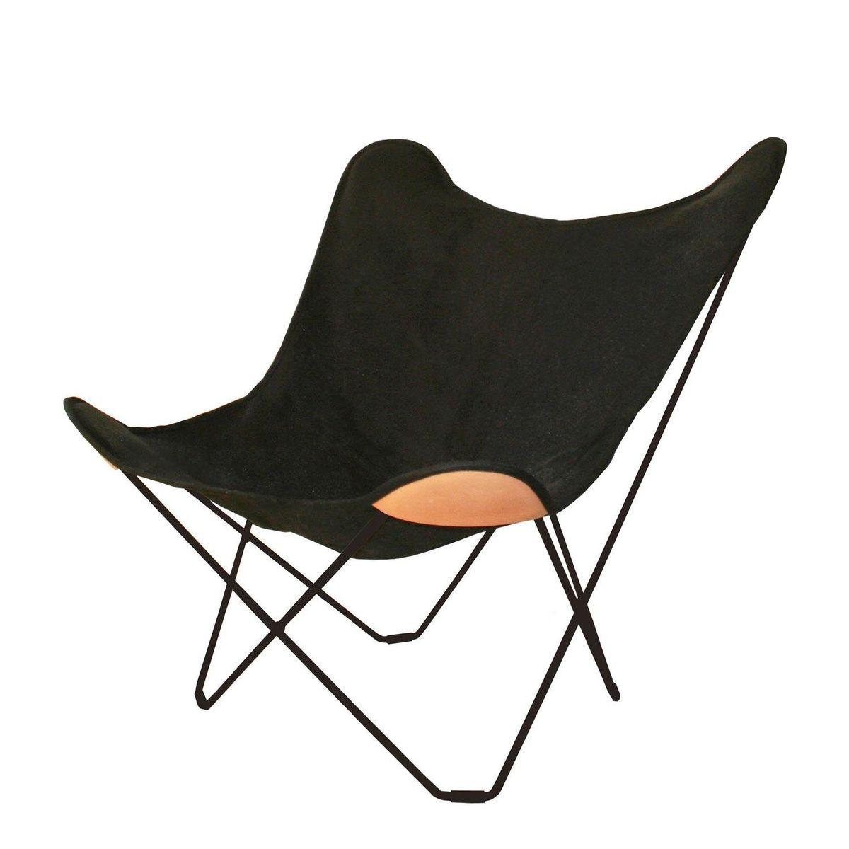 Charming Cuero   Canvas Mariposa Butterfly Chair   Black/frame Black