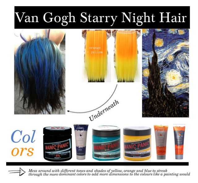 """""""Van Gogh Starry Night Hair"""" by panic-jane ❤ liked on Polyvore featuring beauty, Manic Panic and Fudge"""