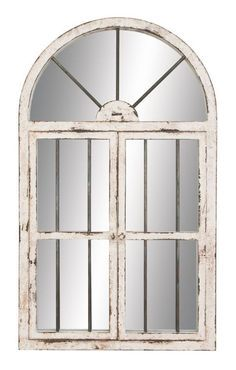 Aspire Home Accents 74397 42 Arched Window Wall Mirror White Decor Mirrors Lighting
