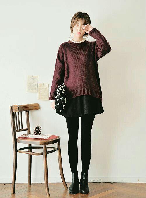 sweater over a skirt fashion fashion korean fashion. Black Bedroom Furniture Sets. Home Design Ideas