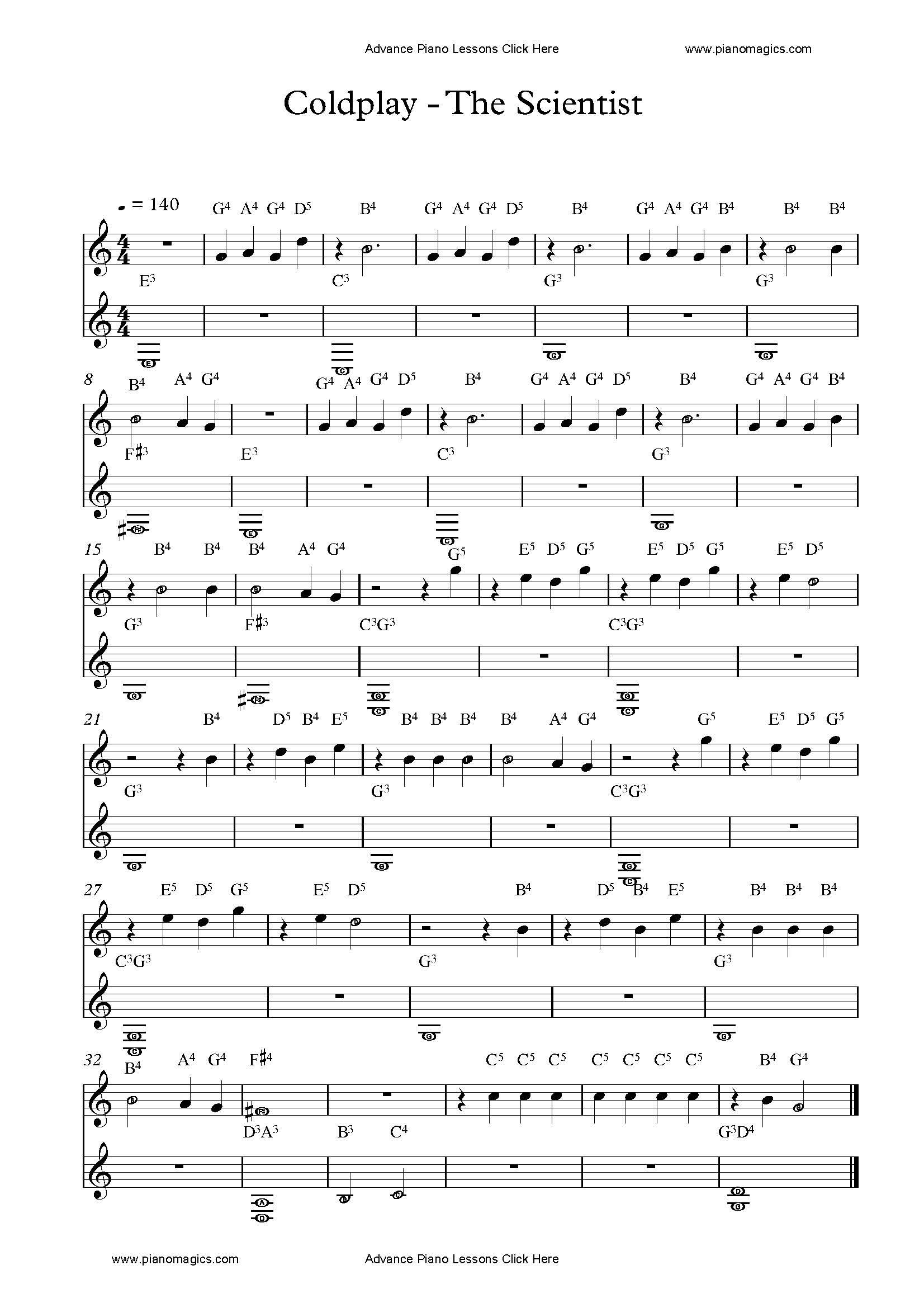 Get Your The Scientist Piano Sheet With Note Names Piano Sheet