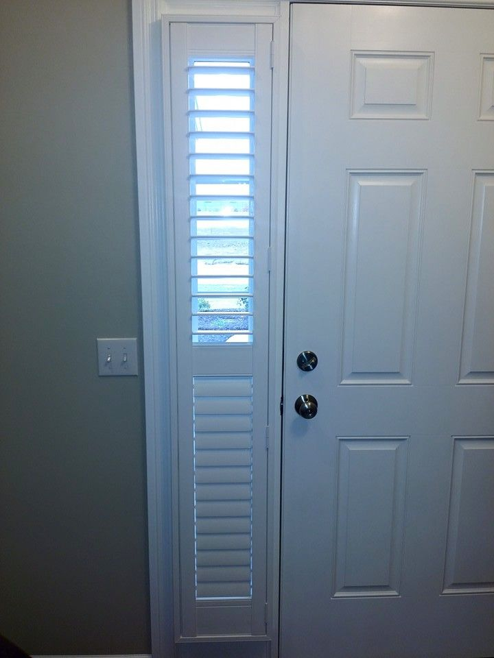 Sidelight With Shutter Top Panel Vanes Are Open Bottom Panel They Re Closed Sidelight Windows Front Doors With Windows Door Coverings