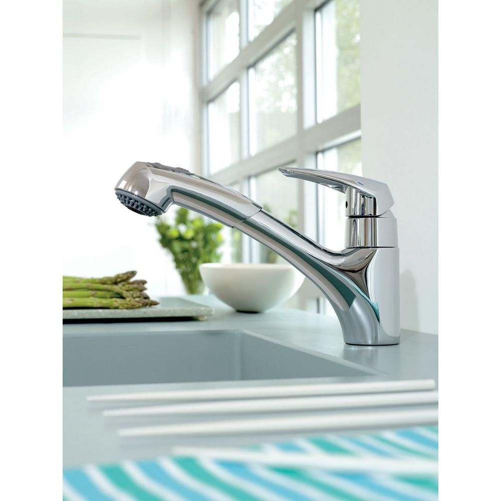 GROHE Eurodisc Single-Handle Pull-Out Sprayer Kitchen Faucet in ...