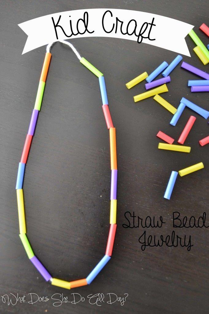 Kid Craft Straw Bead Jewelry Craft Preschooler Boredombuster